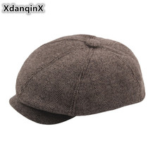 XdanqinX Herringbone Striped Middle-aged Newsboy Caps Autumn Winter Warm Simple Octagonal Beret Hats For Men And Women Dads Hat