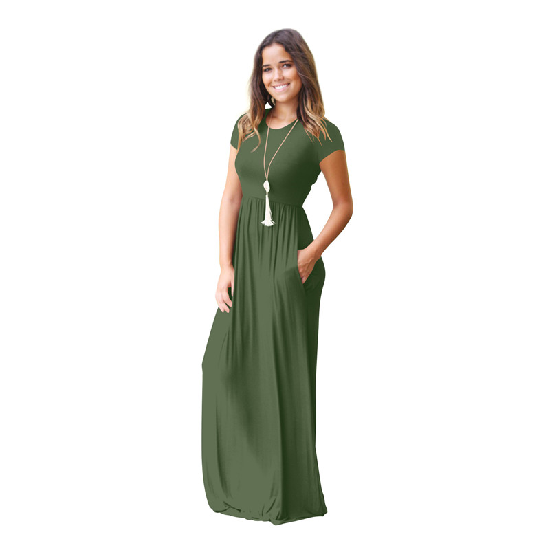 Women's Short Sleeve Loose Plain Maxi Dresses Casual Long Dresses with Pockets 5