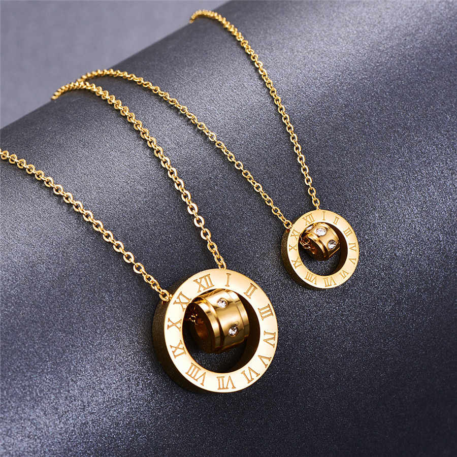 Martick 316L Stainless Steel Gold-color Crystal Pendant Round Double Loop Roman Numerals Link Chain Necklace For Women G4