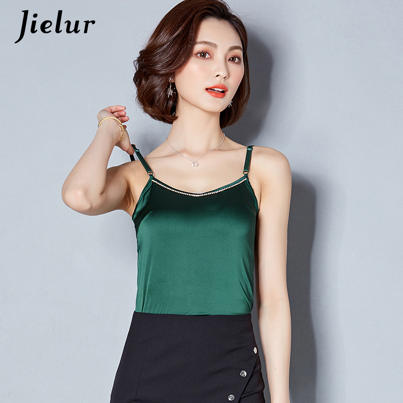 Jielur Plus Size Summer Sexy Silk Tank Top Women Beading Solid Color Sleeveless Vest Casual Mujer Top Office Lady Camis Dropship