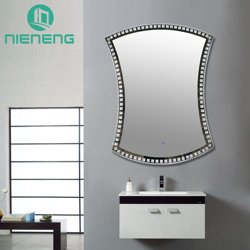 Nieneng Illuminated Demist Lighted Vanity Make up Heated Mirror Bathroom Makeup LED Light Mirror Dimmer Defogger Silver ICD90111 nieneng led mirror makeup mirrors table model bathroom led light mirror 5x 10x bath make up mirror magnifying hardware icd60540