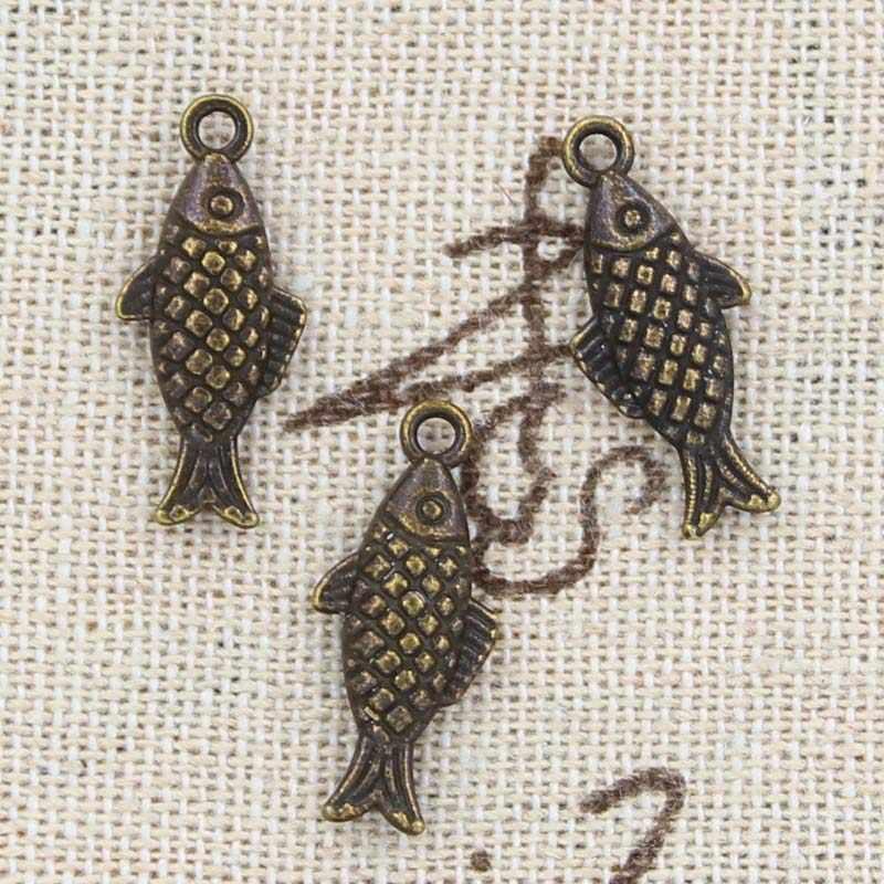 12 sztuk Charms dwustronna ryby 20x8mm Antique Making wisiorek fit, Vintage tybetański srebrny brąz, ręcznie robiona biżuteria diy