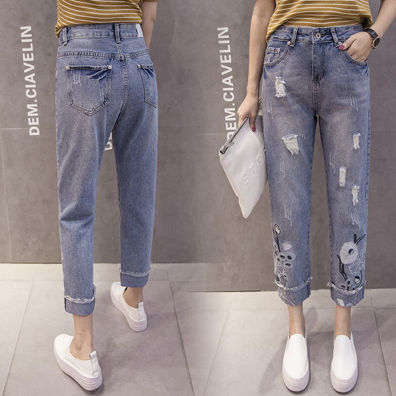 New arrival fashion denim women plants ripped cotton washed embroidery loosen harem pants ankle length women