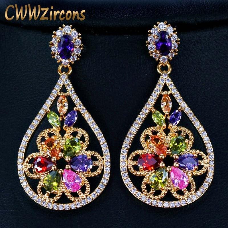 Vintage Women Ladies Mulit-Color Crystal Resin Water Dangle Ear Stud Earrings