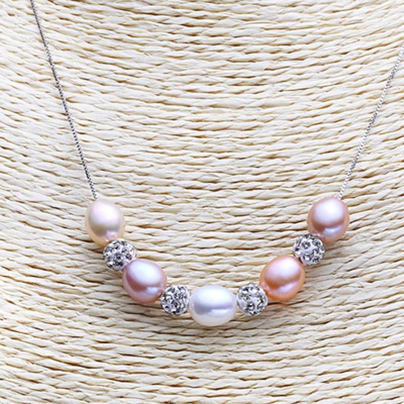 ASHIQI 925 plata esterlina Colgante Real Multi Arroz collar de perlas - Joyas - foto 3