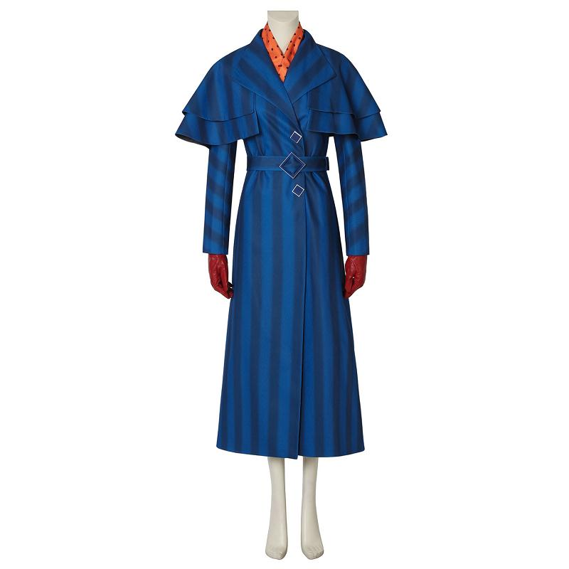 Mary Poppins Returns Cosplay Mary Poppins Costume Fancy Dress Halloween Carnival Women Outfit Full Set with Props Costum Made