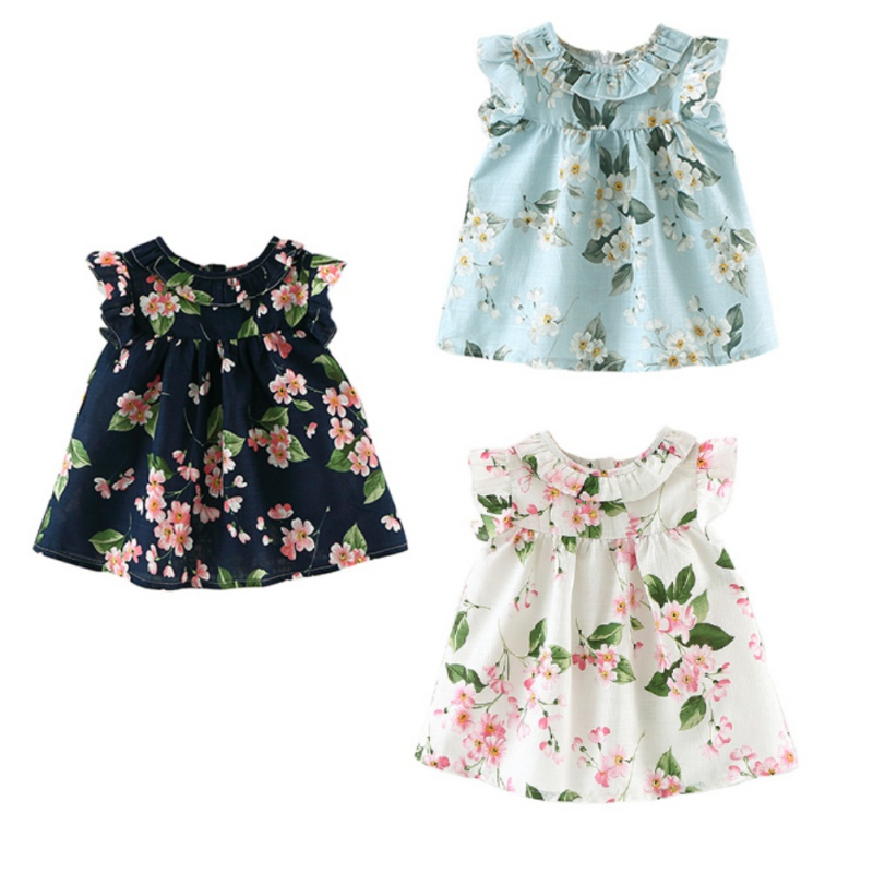 Summer Girls Cotton&Linen Dresses For Girl Baby Floral Print Princess Sundress Infant Clothes O-Neck Sleeveless Short Dress j2