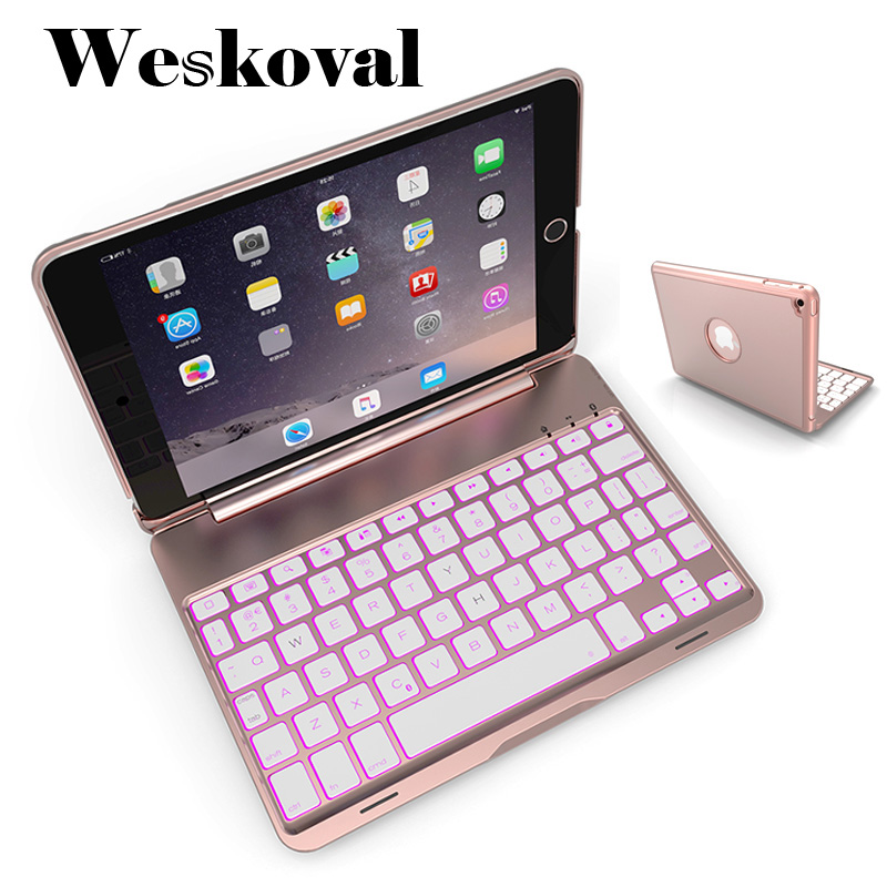 Keyboard For iPad Mini 1 2 3 Wireless Bluetooth Case For iPad Mini 1/2/3 Tablet Aluminum Alloy Stand Cover Capa Fundas+Pen trendy women s satchel with rivet and zips design