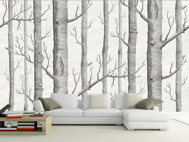 Custom 3D grey forest trees picture wall paper mural on the wall for meeting room living room sofa background free shipping