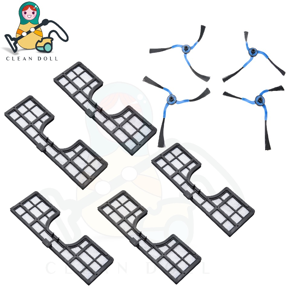 CLEAN DOLL Filter and Side brush for Samsung Robotic Navibot Vacuum Cleaner SR8751, SR8845, SR8855, SR8895 VC-RM72VR filter 5 pair pack replacement 3 arms side brush for samsung navibot vacuum cleaner