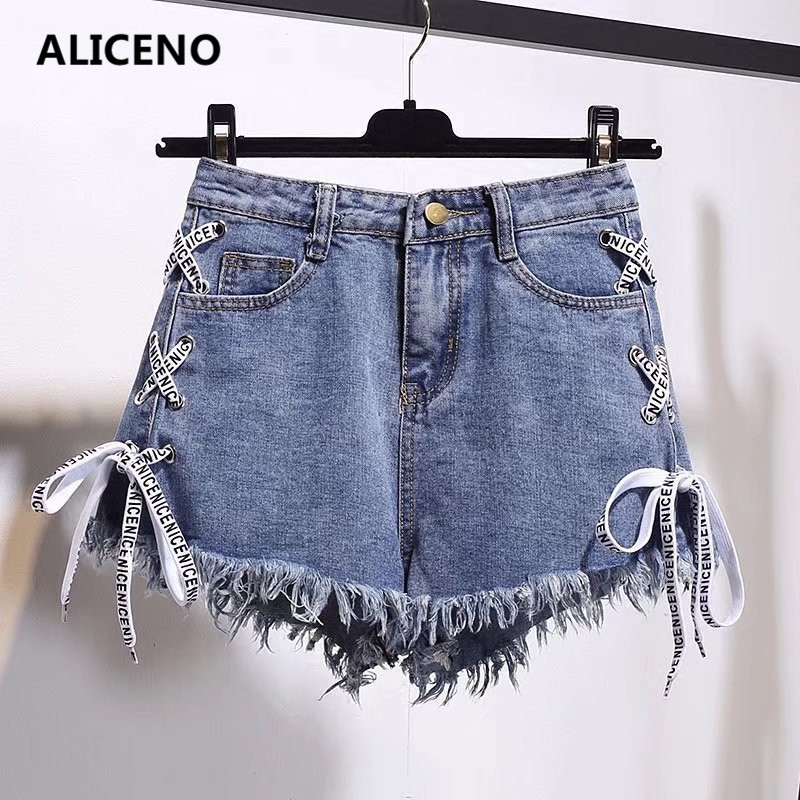 ALICENO Jeans Short High-Waist Ribbons Sexy Plus-Size Summer Women NEW Criss-Cross S-6XL