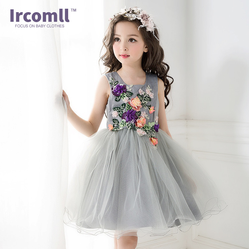 2017 Summer Wedding Costume For Kids White Children Princess Wedding Dress Girls Performing Host Girls Clothes For 3-10 Years