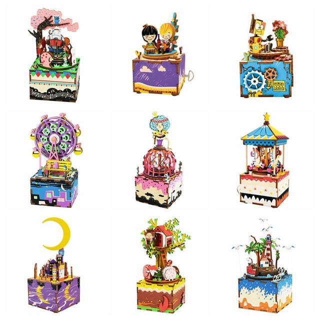 Robotime 24 Types DIY Wooden Music Box Carousel Home Decor Birthday Anniversary Gift Present For Girlfriend
