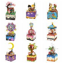купить Rolife DIY Wooden Music Box Merry Go Round Carousel Home Decor Birthday Gift Present For Children Girlfriend Women дешево