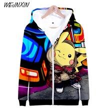c5ad0c73f87 WEJNXIN Pokemon Go 3D Print Zipper Hoodies Men Women Sweatshirts Pikachu  Tracksuits Outwear Zip Tall Autumn
