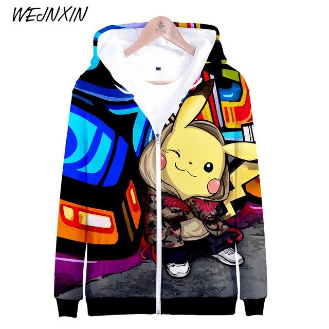 0842ebbcf8357 WEJNXIN Pokemon Go 3D Print Zipper Hoodies Men Women Sweatshirts Pikachu  Tracksuits Outwear Zip Tall Autumn Hip Hop Clothing