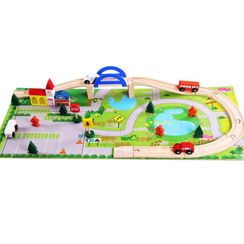 40 pièces jouets en bois pour enfants Train piste Booster jeu ensemble enfants jouets éducatifs