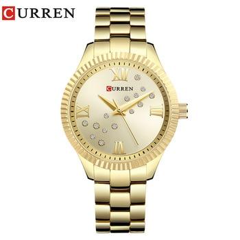 relogio feminino Curren Womens Watches Top Brand Luxury Gold Black Quartz Watch Waterproof Full Steel Ladies Dress Watches 9009 дамски часовници розово злато