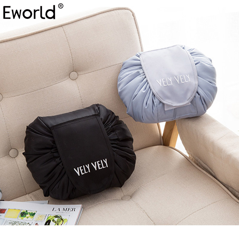 Eworld 2017 Creative Lazy Cosmetic Bag Large Capacity Portable Drawstring Storage Artifact Magic Travel Pouch Simple Travel Bag