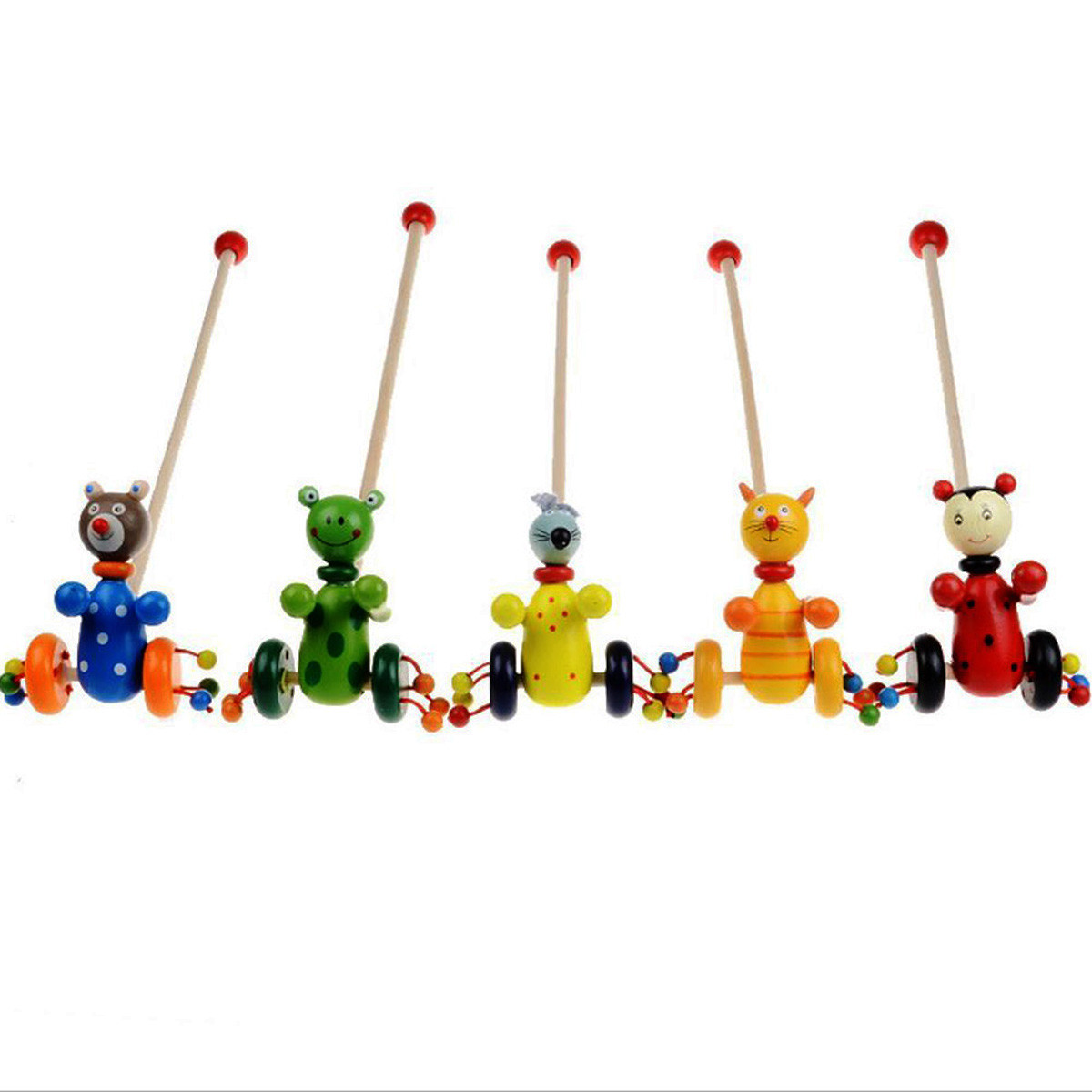 estilo caliente diy interactiva animales nio beb animal de juguete carro del empuje de madera