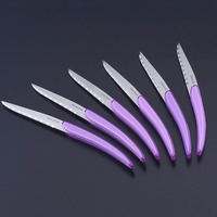 6pcs 8.7in Stainless Steel Steak Knife Christmas Restaurant Steak Knives Purple Colored Handle Dinner knife Kitchen Flatware set