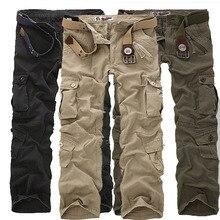 2018 Fashion Cotton Men Military Long Cargo Overall Multi-pocket Pants Work Trousers Men Baggy Sweatpants Plus Size 46 44 42 40