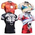 Exercícios de Musculação Camisetas Lobo Impressão por sublimação de Mangas Curtas Dos Homens de Compressão de secagem rápida de Fitness Respirável