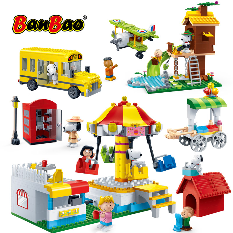BanBao Hot Snoopy Peanuts IP Figure Plastic Building Blocks Toys For Children Kids Educational Model DIY Bricks Compatible Brand