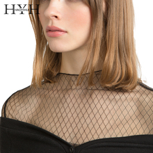 HYH HAOYIHUI 2018 Geometric Mesh Women Solid White/Black Top Long Sleeve Sheer Sexy Lady Tees Female Pullovers