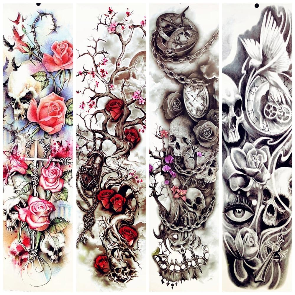 Womens Temporary Tattoos: Big Body Arm Tree Branch Flower Temporary Tattoo Sleeve