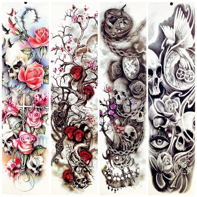 Big Body Arm Tree Branch Flower Temporary Tattoo Sleeve Petal Women