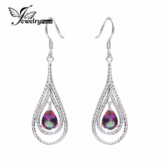Brand New Vintage  Women Fashion Genuine Natural Fire Rainbow Mystic Topaz Drop Earrings Solid 925 Sterling Silver Wholesale