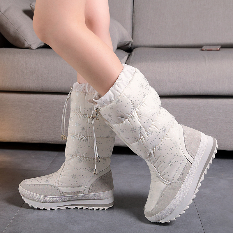 Winter Waterproof Women Snow Boots Mid-Calf Female Shoes Flat Warm Plush Winter Boots For Women Shoes 2016 new warm snow boots women plush winter mid calf boots fashion wedding shoes brand lady botas flat shoes
