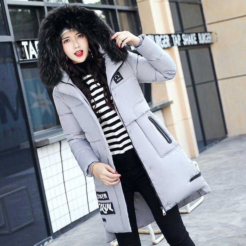 2017 Fashion Winter Slim Hooded Fur Collar Temperament font b Women b font Parka Coat Thickened