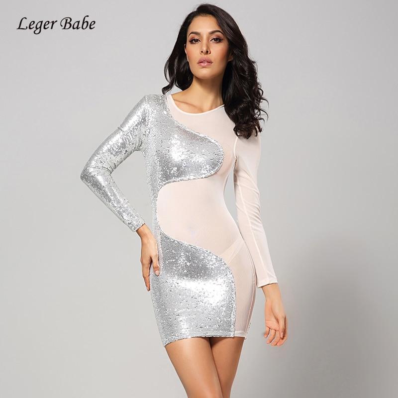Leger bébé mode maille Patchwork à manches longues O cou femmes robe moulante Sexy argent pailleté Vintage Mini Club robe de soirée