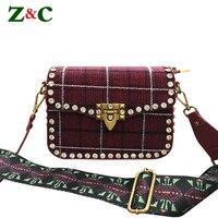 Women Classic Box Woolen Leather Messenger Bags Female Crossbody Small Flap Diamond Rivets Bags Famous Brand