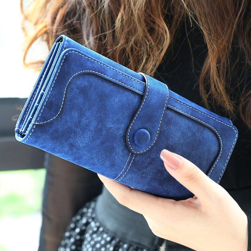 Female Wallets Card-Holder Clutch Departments Lady Purse Faux-Suede Matte Many Women
