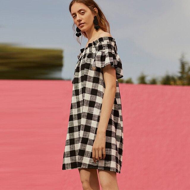 Летний новый женская уличная мода sweet элегантный слэш шеи плед оборками цельный dress бесплатная доставка