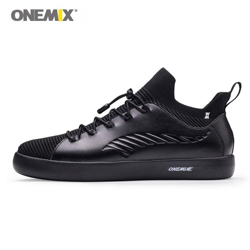 ONEMIX Для мужчин женский, черный скейтборд обувь высокого эластичный цельный Обувь язык легкие кроссовки