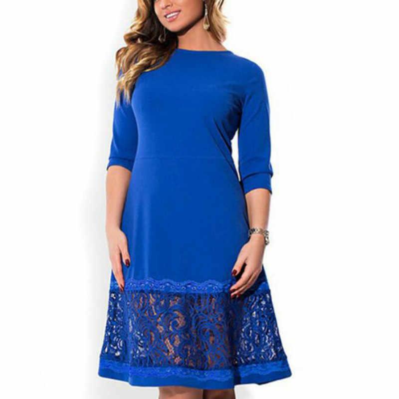 L-6XL, элегантные синие женские платья большого размера, осенние свободные платья с круглым вырезом, большие платья длиной до колена, черные, красные повседневные платья