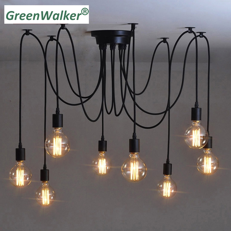 2018 GreenWalker Vintage Edison Multiple Ajustable DIY Ceiling Spider Lamp Lighting Pendant Lights Modern Chic Industrial Dining lukloy pendant lights vintage multiple edison diy adjustable cords ceiling spider light pendant lamp industrial lighting