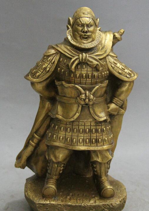Details about 10 Chinese Folk Brass Stand warrior knight general admiral Gen Statue Sculpture