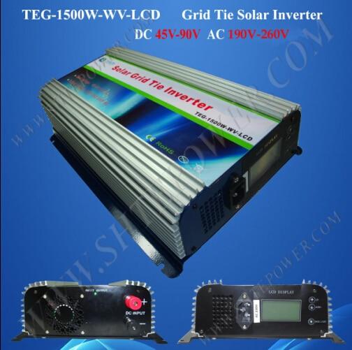Pure sine wave on grid tie dc to ac 48v 220v 1500w solar inverter 1500w grid tie power inverter 110v pure sine wave dc to ac solar power inverter mppt function 45v to 90v input high quality