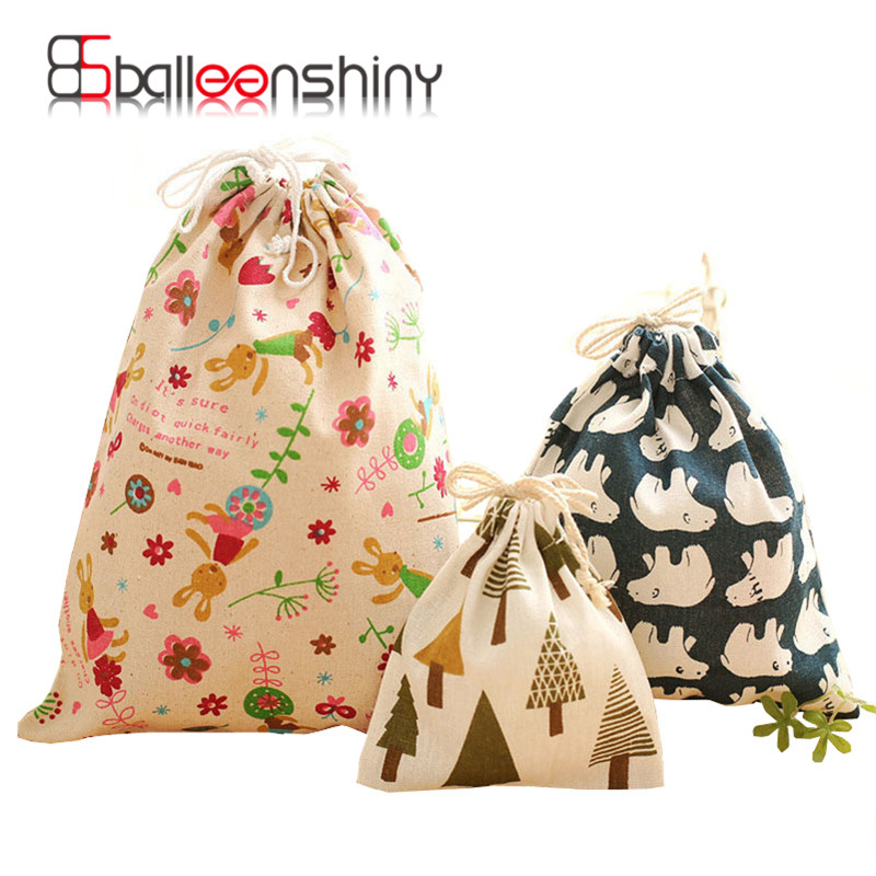 1Pcs Cotton Linen Holder Travel Drawstring Tote Storage Bag Organizer Case For Large Capacity Underwear Gift