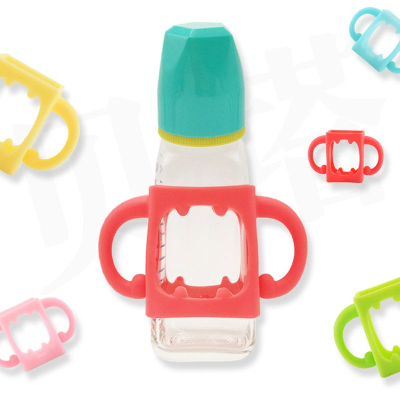 Baby Bottle Universal Handle Soft Silicone Wide Mouth Grip Multicolor Heat Resistant Feeding Bottles Accessories