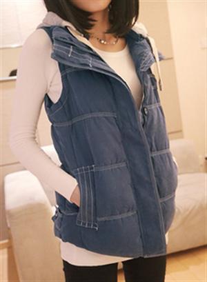 2014 новые женские зимние теплые толстые хлопка с капюшоном жилет женщины жилет мода пальто женские блузки