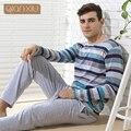 Qianxiu пижама свободного покроя полосы мужчины пижамы установить Большой размер пижамы модальные хлопок салон одежда