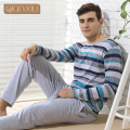 Qianxiu Pajamas Casual Stripes Men Pajama Set Plus Size Sleepwear Modal Cotton Lounge Wear