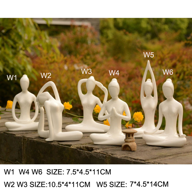 Yoga Figurines Tabletop Zen Garden Statues Accessories Women Meditate  Ceramic Fengshui Crafts