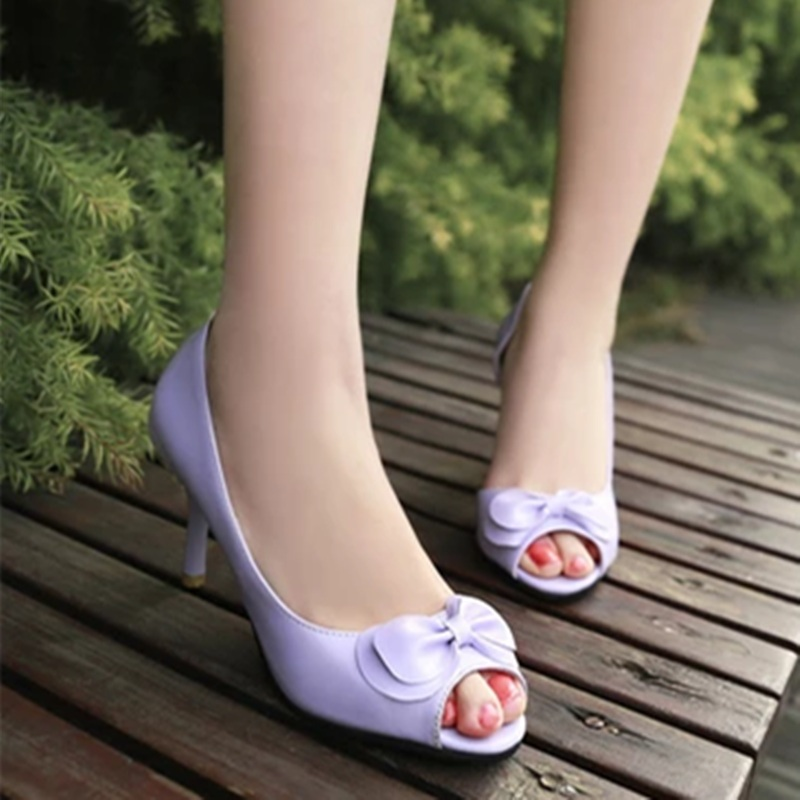Ladies Sweet Bow Peep toe Plus size 34-43 3.14 Flower Tender Insole Thin High Heel Shoes Women Pumps Cinderlla Sophia Webster new 2017 spring summer women shoes pointed toe high quality brand fashion womens flats ladies plus size 41 sweet flock t179